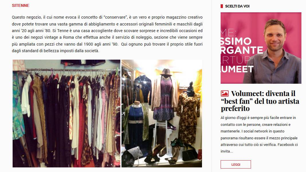 Per Snap Italy Sitenne è fra i sei migliori vintage di Roma!